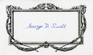 GEORGE D. SNELL - PRINTED CARD SIGNED IN INK