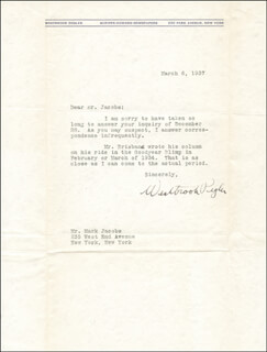 WESTBROOK PEGLER - TYPED LETTER SIGNED 03/06/1937