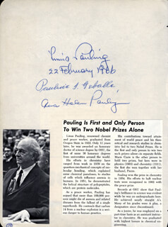 LINUS PAULING - AUTOGRAPH 02/22/1966 CO-SIGNED BY: PAULINE GEBALLE, AVA HELEN PAULING, KARL PRUSSION