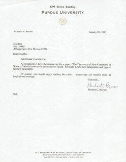 HERBERT C. BROWN - TYPED LETTER SIGNED 01/20/1993