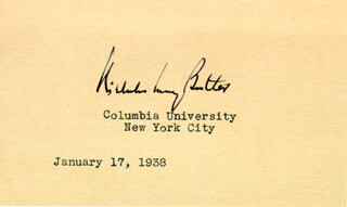 Autographs: NICHOLAS MURRAY BUTLER - SIGNATURE(S) 01/17/1938