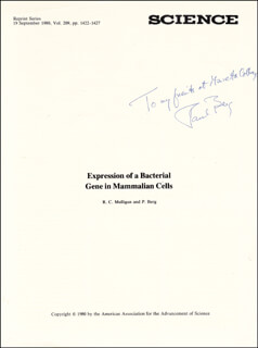 PAUL BERG - INSCRIBED ARTICLE SIGNED CIRCA 1980