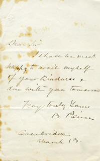 BENJAMIN PEIRCE - AUTOGRAPH LETTER SIGNED 3/13
