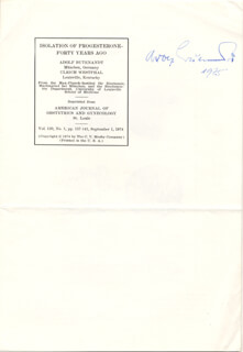 ADOLF FRIEDRICH J. BUTENANDT - ARTICLE SIGNED 1975