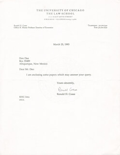 Autographs: RONALD H. COASE - TYPED LETTER SIGNED 03/25/1993