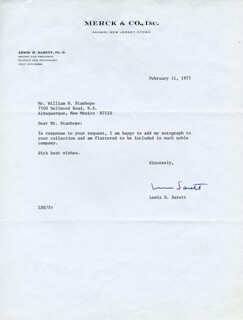 LEWIS H. SARETT - TYPED LETTER SIGNED 02/11/1977