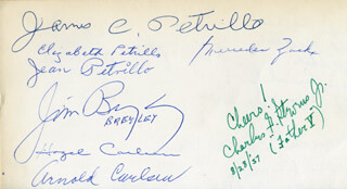 JAMES CAESAR PETRILLO - AUTOGRAPH CO-SIGNED BY: MERCEDES ZACK, ELIZABETH PETRILLO, JIM BREYLEY, HAZEL CARLSEN, ARNOLD CARLSEN, ANITA HADLER, H. P. HADLER, BILL SCHUH, MARY LOU SCHUH, PAT LYNCH, MARY G. DURROY, JEAN PETRILLO, CHARLES G. STEVENS JR.