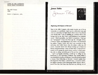 Autographs: JAMES TOBIN - PAMPHLET SIGNED