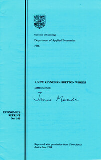 Autographs: JAMES E. MEADE - PAMPHLET SIGNED CIRCA 1984
