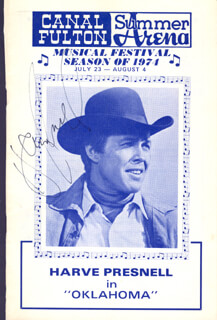 HARVE PRESNELL - SHOW BILL SIGNED CIRCA 1974