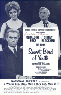 SWEET BIRD OF YOUTH BROADWAY CAST - MAGAZINE PHOTOGRAPH SIGNED CIRCA 1960 CO-SIGNED BY: ELIA KAZAN, GERALDINE PAGE