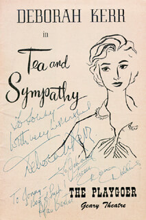 TEA AND SYMPATHY PLAY CAST - INSCRIBED SHOW BILL SIGNED CO-SIGNED BY: DON DUBBINS, ALAN BAXTER, DEBORAH KERR
