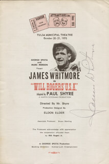 JAMES WHITMORE - SHOW BILL SIGNED CIRCA 1970