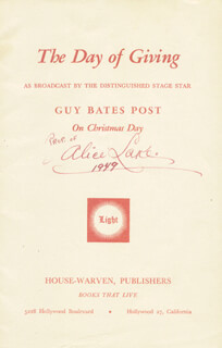 ALICE LAKE - PAMPHLET SIGNED 1949
