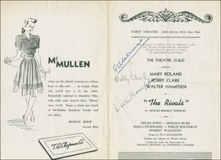 THE RIVALS PLAY CAST - SHOW BILL SIGNED CO-SIGNED BY: WALTER HAMPDEN, EVA LE GALLIENNE, BOBBY CLARK