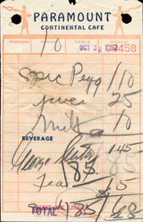 GEORGE SEATON - MEAL TICKET SIGNED 10/29/1953