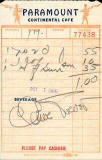 CLAIRE TREVOR - MEAL TICKET SIGNED 10/01/1954
