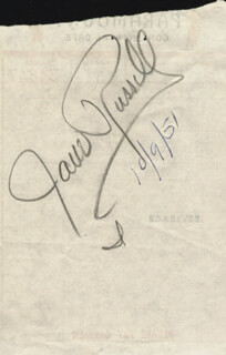 JANE RUSSELL - MEAL TICKET SIGNED 10/09/1951