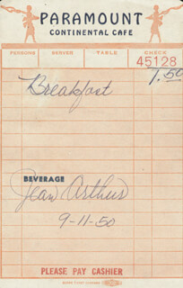 JEAN ARTHUR - MEAL TICKET SIGNED 09/11/1950  - HFSID 182180