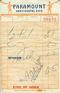 ALAN J. PAKULA - MEAL TICKET SIGNED 05/01/1952