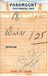 ALAN J. PAKULA - MEAL TICKET SIGNED 12/11/1951