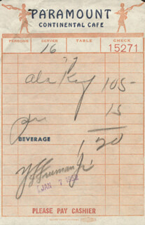 Autographs: Y. F. PETE FREEMAN JR. - MEAL TICKET SIGNED 01/07/1952