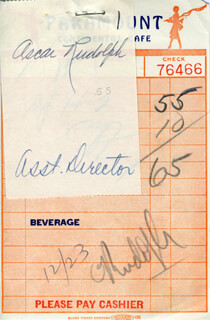 OSCAR RUDOLPH - MEAL TICKET SIGNED