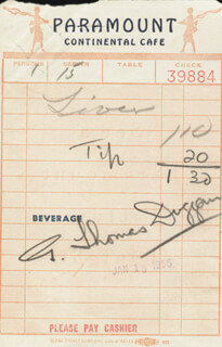 TOM (G. THOMAS) DUGGAN - MEAL TICKET SIGNED 01/13/1955