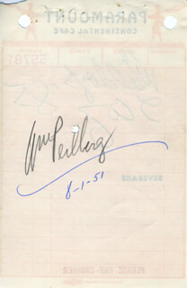 Autographs: WILLIAM PERLBERG - MEAL TICKET SIGNED CIRCA 1951