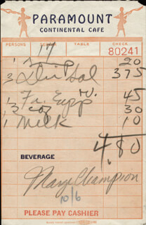 MARGE CHAMPION - MEAL TICKET SIGNED  - HFSID 182210
