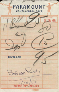 BARBARA RUSH - MEAL TICKET SIGNED 01/10/1951