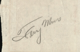 TERRY MOORE - MEAL TICKET SIGNED 02/28/1952