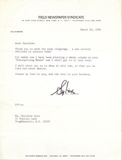 SYLVIA PORTER - TYPED LETTER SIGNED 03/30/1976