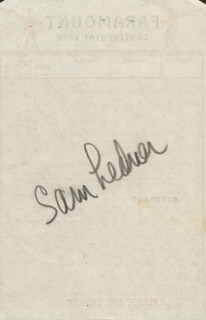 SAM LEDNER - MEAL TICKET SIGNED 03/15/1952