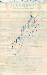 MARY MURPHY - MEAL TICKET SIGNED 10/23/1951