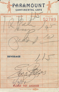 Autographs: GEORGE STEVENS - MEAL TICKET SIGNED 06/07/1951