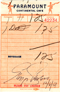 GINGER ROGERS - MEAL TICKET SIGNED 12/06/1951