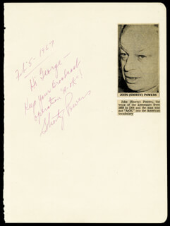 Autographs: JOHN SHORTY POWERS - AUTOGRAPH NOTE SIGNED 02/05/1967