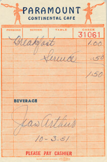 JEAN ARTHUR - MEAL TICKET SIGNED 10/03/1951  - HFSID 182322