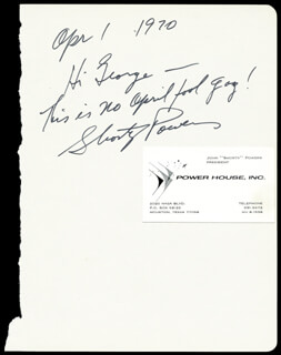 Autographs: JOHN SHORTY POWERS - AUTOGRAPH NOTE SIGNED 04/01/1970
