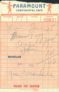 GEORGE E. MARSHALL - MEAL TICKET SIGNED 04/03/1952