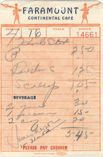 JAMES MASON - MEAL TICKET SIGNED 01/31/1952