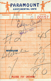 EDGAR SMALL - MEAL TICKET SIGNED 05/20/1952
