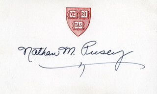 Autographs: NATHAN M. PUSEY - PRINTED CARD SIGNED IN INK