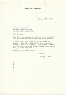 IRVING BERLIN - TYPED LETTER SIGNED 01/19/1968