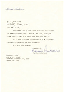 MARIAN ANDERSON - TYPED LETTER SIGNED 03/29/1966