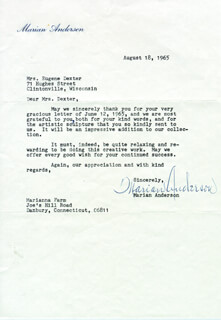 Autographs: MARIAN ANDERSON - TYPED LETTER SIGNED 08/18/1965