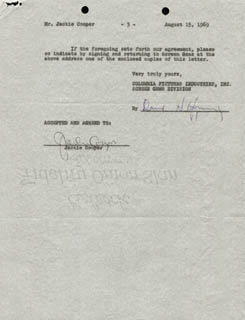 JACKIE COOPER - DOCUMENT MULTI-SIGNED 08/15/1969