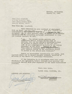 JOAN CRAWFORD - DOCUMENT SIGNED 01/31/1949