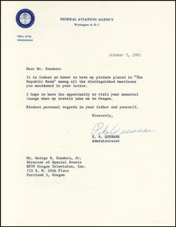 LT. GENERAL ELWOOD R. PETE QUESADA - TYPED LETTER SIGNED 10/07/1960